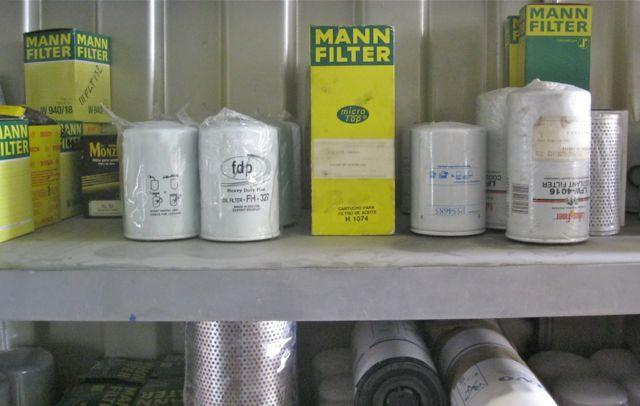 La variedad de filtros en inventario